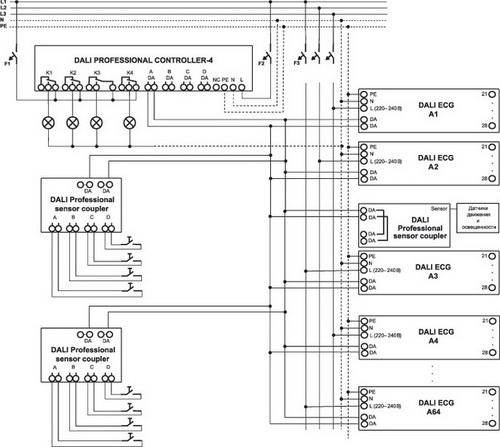 Схема подключения DALI