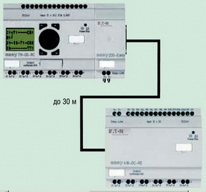 Связь реле Easy с удаленным модулем расширения входов/выходов
