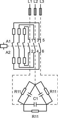 Схема включения контактора DILK