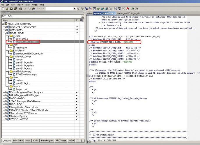 Первоначальная инициализация в файле system_stm32f10x.c