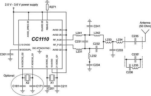 Упрощенная схема включения CC1110