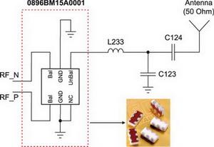 Схема согласования CC1110 с помощью 0896BM15A0001