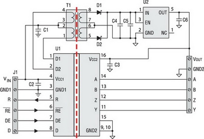 Дуплексный изолированный 1 Мбит RS-485