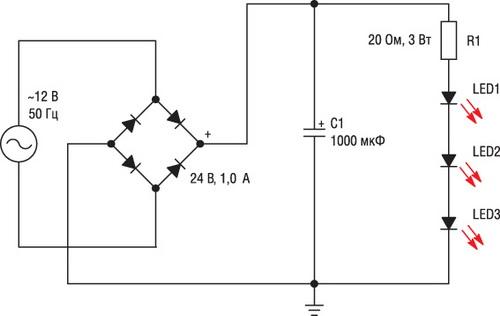 Схемы драйверов для питания светодиодов от сети 220 в