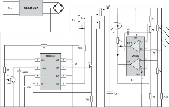 Структура схемы Flyback-преобразователя на основе контроллера NCL30000