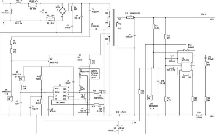Схема платы управления светодиодной лампой в форм-факторе PAR30 с цоколем Е27