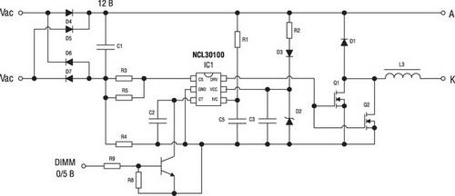 Типовая схема включения драйвера при питании от переменного напряжения MR16