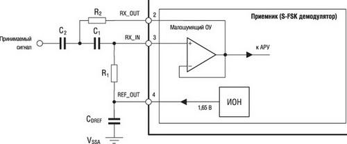 Подключение внешних компонентов для получения режекторного фильтра на 50/60 Гц