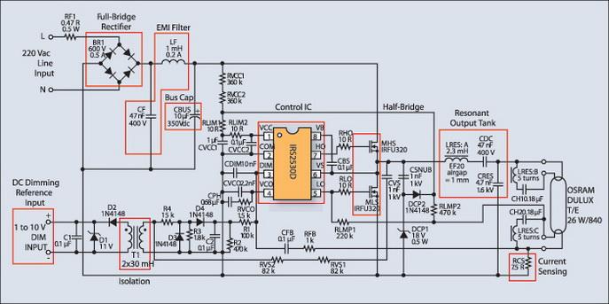 Электрическая схема регулируемого ЭПРА
