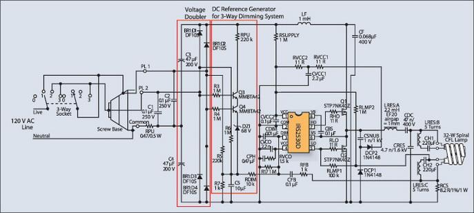 Электрическая схема балласта IRPLCFL8U