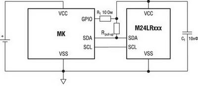 Типовая схема включения M24LRxxx
