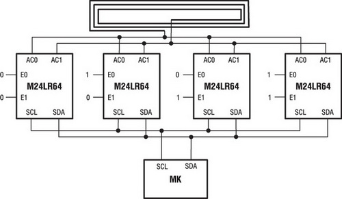 Объединение M24LR64-R для увеличения суммарного объема памяти