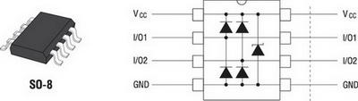 Внешний вид и назначение выводов USB6B1