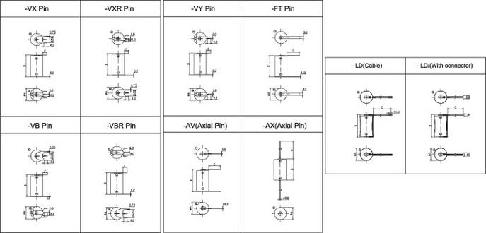 Варианты выводов для элементов цилиндрического типа