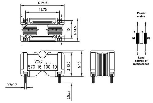 Габаритные размеры фильтра RK-17 с дополнительным магнитопроводом