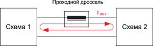 Схема подавления дифференциальной помехи проходным дросселем