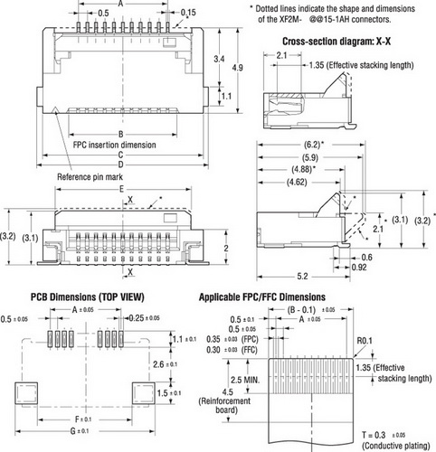 Конструктивные особенности и размеры разъемов серии XF2M