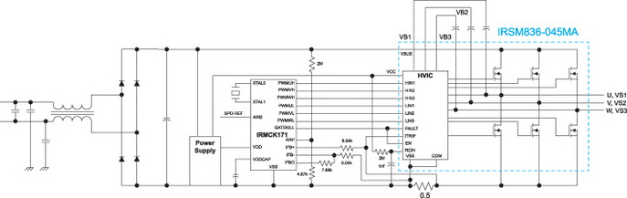 Типовая схема включения модуля IRSM836-045MA