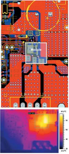 Топология печатной платы с установленным модулем и фотография ее термоскопирования