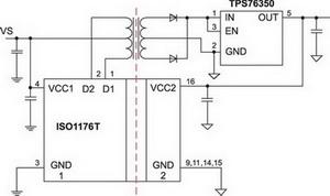 Организация питания приемопередатчика на основе ISO3086T/ISO35T/ISO1176T