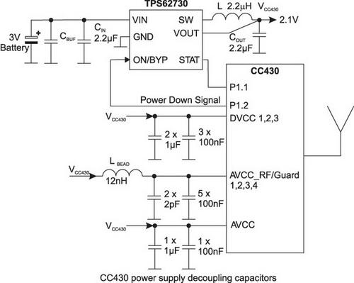 Пример использования TPS62730 совместно с CC430