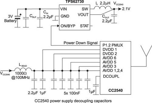 Пример использования TPS62730 для реализации BLE