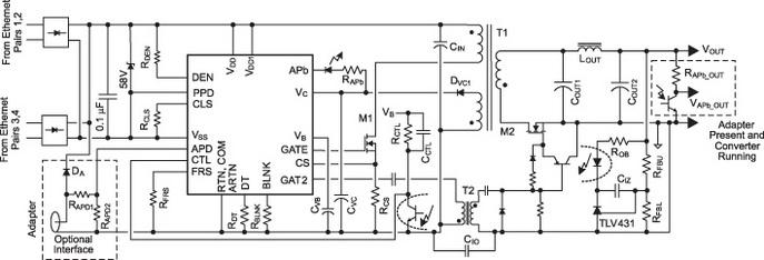 Схема высокоэффективного преобразователя на базе TPS23757