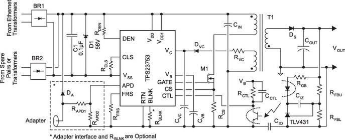 Базовая схема применения TPS23753A