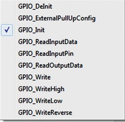 Функции драйвера периферийного модуля GPIO