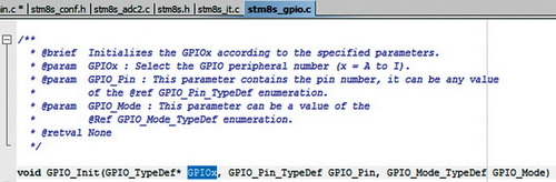 Функция инициализации GPIO
