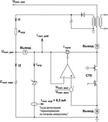 Организация подсистемы динамического внутреннего источника питания ИМС NCP1070... NCP1077