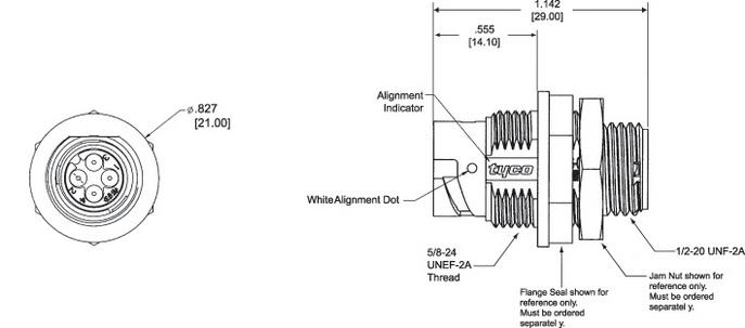 Внешний вид и габаритные размеры приборной розетки типоразмера 8