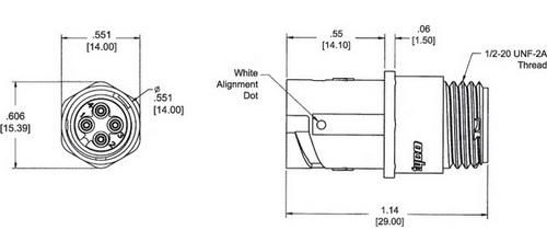 Внешний вид и габаритные размеры кабельной розетки типоразмера 8