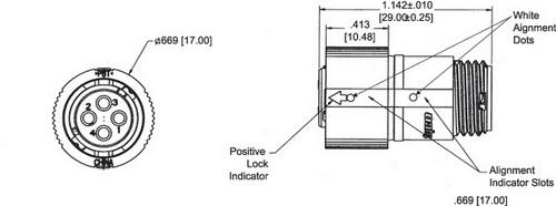 Внешний вид и габаритные размеры кабельной вилки типоразмера 8