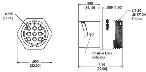 Внешний вид и габаритные размеры кабельной вилки типоразмера 11