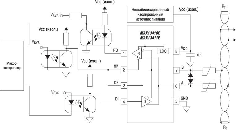 Схема включения трансиверов