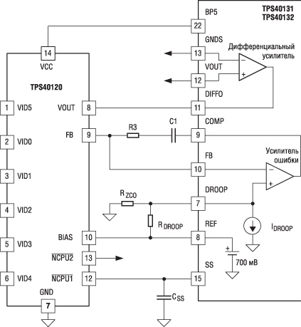 Типовая схема подключения цифрового делителя TPS40120 с контроллерами TPS40131/ TPS40132