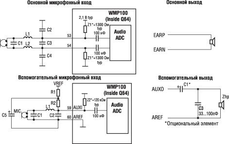 Схема подключения микрофонов и
