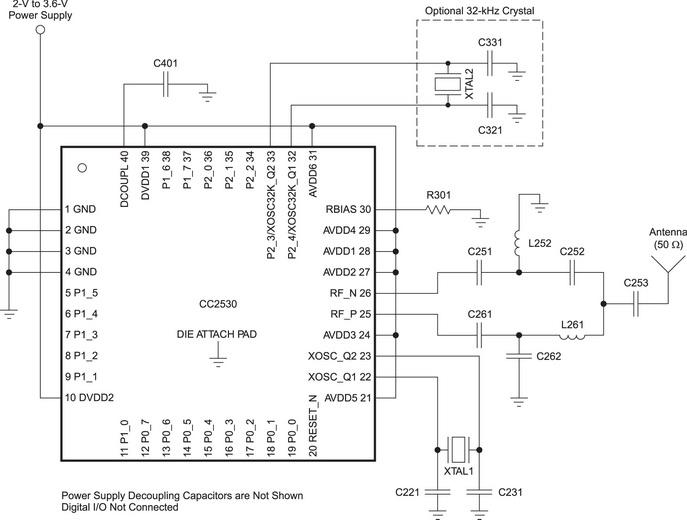 Схема включения СС2530