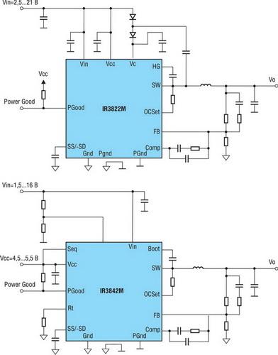 Типовые схемы включения конверторов IR3822 и IR3842