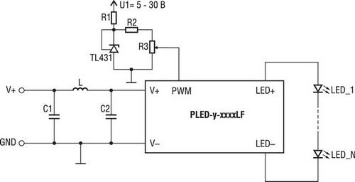Схема, где ток светодиодов