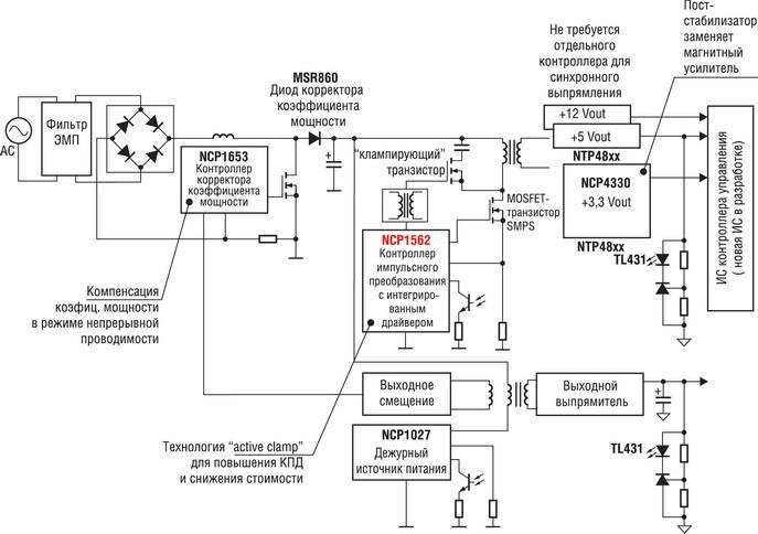 Высокоэффективный блок питания ATX мощностью 305 Вт, базовая схема