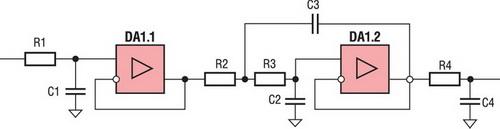 Электрическая принципиальная схема аналогового фильтра