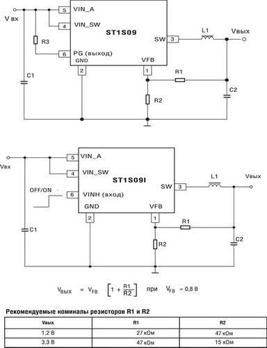 Отличия схем включения ST1S09 (без входа отключения) и ST1S09I (с входом отключения)