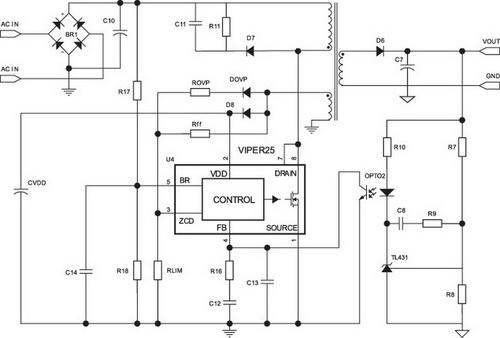 Блок питания на viper22a схема