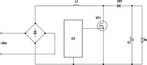 Типовая схема классического активного корректора коэффициента мощности